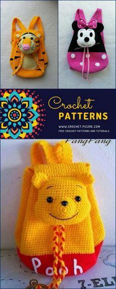 Amigurumi Backpack Free Crochet Pattern - Crochet Gifts for toddlers Stitch Crochet, Free Crochet Bag, Crochet Baby Boots, Crochet Toddler, Crochet Bear, Crochet Purses, Crochet For Kids, Crochet Backpack Pattern, Crochet Toys Patterns