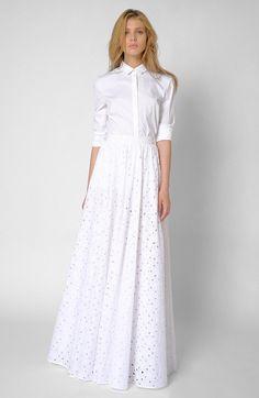 Die-cut White Maxi Skirt