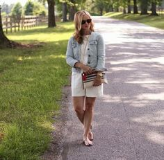 white on white + denim jacket + long necklace + sandals + bracelet + purse
