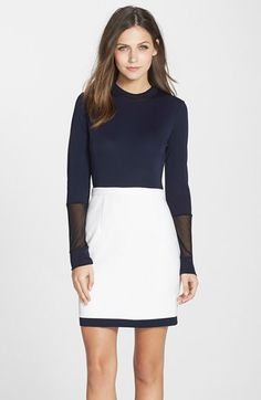 Cynthia Steffe 'Zahara' Mesh Inset Mock Neck Jersey Sheath Dress available at #Nordstrom