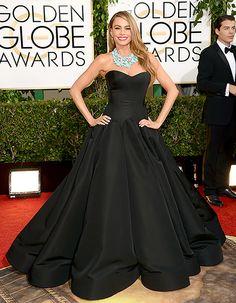 Sofia Vergara wears a black Zac Posen princess gown at the 2014 Golden Globes