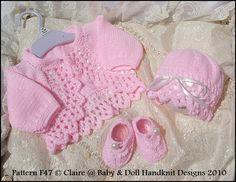 Boleros & Hats 16-22 inch dolls/0-3m baby-bolero, knitting pattern, bonnet, beanie, reborn, doll, baby