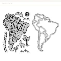 Picture of South America Stamp & Die Set Scrapbook Add-On from Odyssey