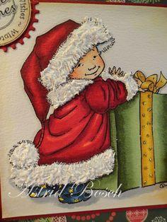 Mo Manning digi Santa Kai coloured with copic markers: Skin: E11,E00,E000,R20 Pyjama: B97,B95,B93,YR23 Santa Clothes: R59,R29,R27,R24,R22 Gift: G29,G28,G40 White fur is made with Alleen's real snow
