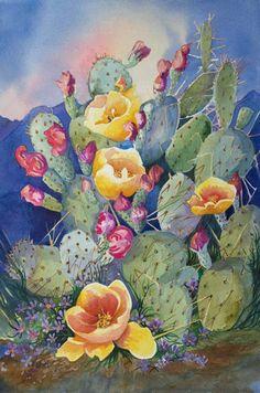 prickly pear cactus in bloom painting artist Barbara Ann Spencer Jump