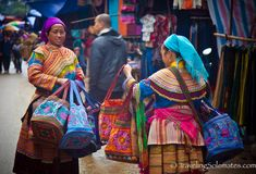 Flower Hmong bag vendors, Bac Ha Market, Vietnam /  Traveling Solemates