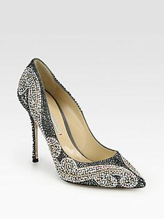 Nicholas Kirkwood Crystal-Coated Metallic Leather Pumps. If I owned these I would spend 80% of my free time with them on looking at my foot.