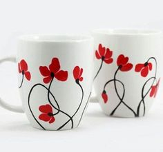 Hand Painted Ceramic Cup With Flowers Tea Mug Minimalism white red poppies flower botanical garden spring design Painted Coffee Mugs, Hand Painted Mugs, Hand Painted Ceramics, Pottery Painting Designs, Paint Designs, Mug Designs, Ceramic Cups, Ceramic Pottery, Ceramic Art