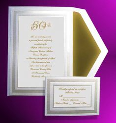 Anniversary Invitations With Rsvp Cards 50th Wedding Anniversary Invitations, Vow Renewal Invitations, Golden Wedding Anniversary, Anniversary Parties, Anniversary Ideas, Wedding Rsvp, Wedding Cards, Response Cards, Pearl