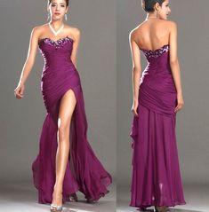 Rochie mov pruna, cu dantela si paiete, cu corset si crapatura lunga pe picior Strapless Dress Formal, Prom Dresses, Formal Dresses, Party Dress, Fashion, Embroidery, Dresses For Formal, Moda, Formal Gowns