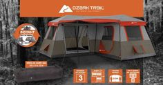Ozark Trail 12 Person 3 Room L Shaped Instant Cabin Tent Camping Instant Set Up Best Tents For Camping, Cool Tents, Tent Camping, Outdoor Camping, Camping Ideas, Camping Stuff, 20 Person Tent, Best Family Tent, Family Camping