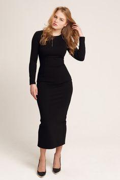 Cocktail dress. Black pencil dress. Black long by OverTheSeadress