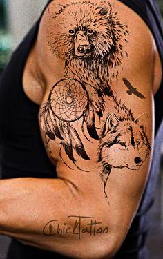 1000 ideas about wolf dreamcatcher tattoo on pinterest dreamcatcher tattoos tribal wolf and. Black Bedroom Furniture Sets. Home Design Ideas
