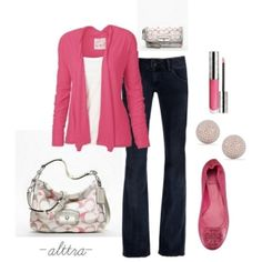 Business casual - my typical style (except for the pink, maybe aqua or coral instead)