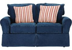 for casual cozy seating nothing beats the beachside denim loveseat washed denim slipcover has natural distressing for an easy and relaxed look
