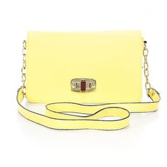 Pre-owned Merona Leather Crossbody Bag: Yellow Women's Bags ($25) ❤ liked on Polyvore featuring bags, handbags, shoulder bags, yellow, crossbody purse, hand bags, handbags crossbody, shoulder handbags and crossbody shoulder bags