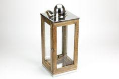 Lanterna Madeira e Níquel 23 x 23 x 58 cm | A Loja do Gato Preto | #alojadogatopreto | #shoponline | referência 110856222