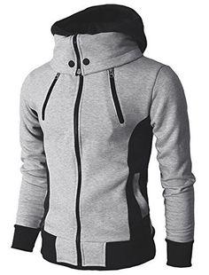 6bcf46e329c localmode Men s Double Zipper Hooded Jacket Turtleneck Fleece Hoodie Coat  at Amazon Men s Clothing store
