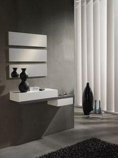 Meuble d'entrée moderne + miroirs ERMES, blanc et gris cendré