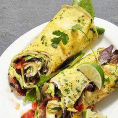 Omelett Wraps mit Salat, Bohnen, Zwiebeln und Limette - Gute Frühstücksidee :)