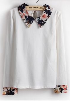 White Patchwork Turndown Collar Long Sleeve Cotton T-shirt
