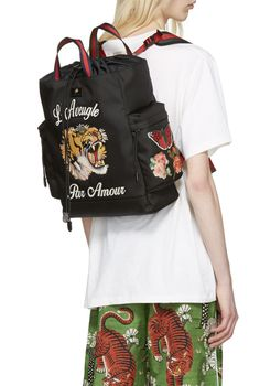 Gucci Black 'L'Aveugle Par Amour' Techpack Backpack   from SSENSE (men, style, fashion, clothing, shopping, recommendations, stylish, menswear, male, streetstyle, inspo, outfit, fall, winter, spring, summer, personal)