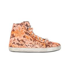 Mancapane Silk & Lace Floral High Top Sneakers