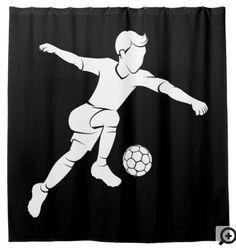 Soccer Boy Kicking Silhouette Shower Curtain