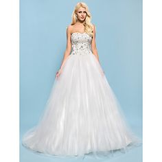 Ball Gown Sweetheart Chapel Train Tulle And Satin Wedding Dress – USD $ 249.99