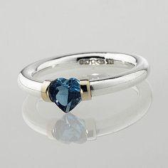 'I Love You' Heart Shaped Blue Topaz Ring