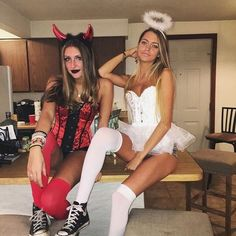 angel halloween costumes Image in G I R L S collection by Bunny Halloween Costume, Best Friend Halloween Costumes, Fete Halloween, Cute Costumes, Halloween Outfits, Costumes For Women, Girl Halloween, Costume Ideas, Devil Halloween