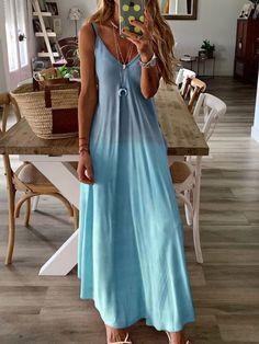Women Gradient Casual V Neck Long Sleeve Maxi Dress Best Summer Dresses, Holiday Dresses, Bohemian Summer Dresses, Maxi Dress With Sleeves, V Neck Dress, Tank Dress, Dress Skirt, Vacation Dresses, Casual Dresses