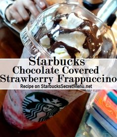 Starbucks Chocolate Covered Strawberry Frappuccino - - If you're looking for something fruity and chocolatey, this is it! Try a Starbucks Chocolate Covered Strawberry Frappuccino for a cool refreshing treat that will hit the spot. Starbucks Frappuccino, Starbucks Secret Menu Drinks, Starbucks Recipes, Coffee Recipes, Starbucks Coffee, Iced Coffee, Coffee Drinks, Vanilla Frappuccino, Coffee Art