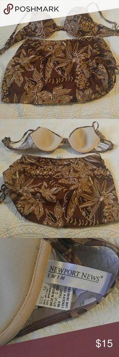 Newport news bikini swim suit 2 piece Brown floral with tan and some gold glitter Newport News Swim Bikinis