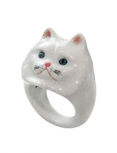 Porcelain Ring - Persian Cat from Brand Nach Bijoux - Ring & persian cat in porcelain- Handmade- Carnet de mode likes the wild and creative universe of Nach!