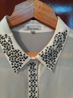 Resultado de imagen para blusas con cuello de brillitos