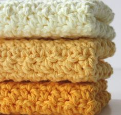 Crochet Cotton Dishcloths Sunshine Yellow by Sweetbriers on Etsy, $12.00