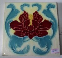 "Original English Art Nouveau tile , c1905/9 6""x6"" Tile Ref 13 red"