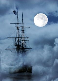 A ship...in the mist and full moon light