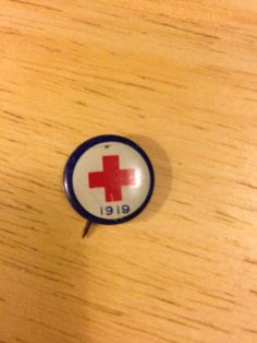 1919 Red Cross Pin Back Button by kaleidoscopetreasure on Etsy