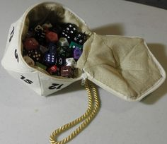 Full frontal nerdity. A D20 dice bag. The site also has a larger size and a D12 available