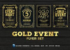 Gold Event Flyers Set by DesignWorkz on @creativemarket