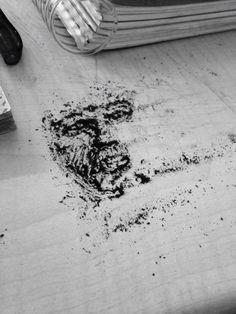 kurşun kalem tozuyla yapılan çalışma