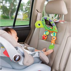 2 in 1 Turtle Mirror! A large domed mirror gives great visibility inside the car. Or, use the flip-up stand for floor play and tummy time entertainment. #BabyTurtles