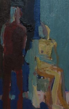 Arthur Neal, 'Artist and Model', oil on paper, 18 x 12cm, SOLD