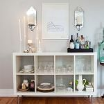 dining rooms - gray walls green vintage bird cage West Elm Mirrored Candle Holders Ikea Expedit Bookcase  Alaina Kaczmarski - Stunning dining