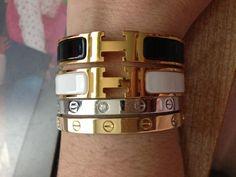 Cartier Love and Hermes Clic Clac - PurseForum Hermes Bracelet, Hermes Jewelry, Cartier Jewelry, Jewelery, Kylie Jenner Bracelets, Love Bracelets, Ankle Bracelets, Closet Accessories, Hermes Handbags