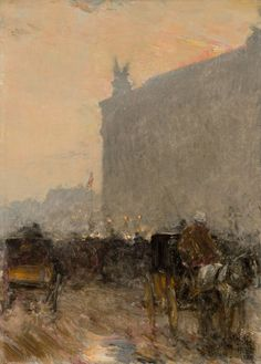 Paris, at the Opera House, 1888, Frederich Child Hassam. (1859 - 1935)  - Oil on Canvas -