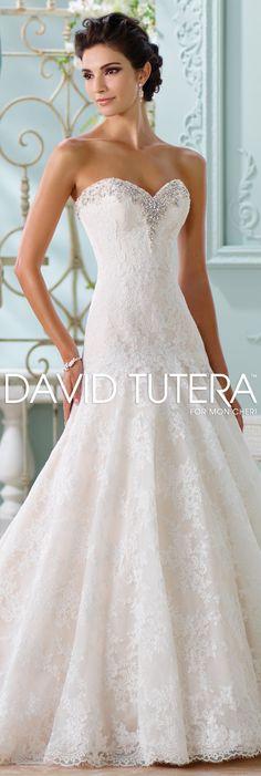 The David Tutera for Mon Cheri Spring 2016 Wedding Gown Collection - Style No. 116205 Chasca #laceweddingdresses