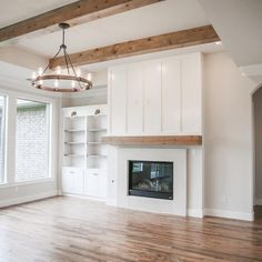 to when I took a huge risk and did something Ive never seen before. I wanted a unique yet simple fireplace. I had anxiety the WHOLE… Off Center Fireplace, Built In Around Fireplace, Simple Fireplace, Fireplace Shelves, Fireplace Built Ins, Fireplace Design, Fireplace Ideas, Built In Shelves Living Room, Living Room With Fireplace
